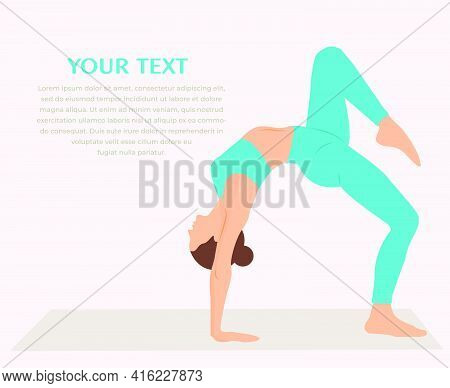 Woman Practicing Yoga Fitness Gymnastics. Banner With Illustration Of Woman Doing Gymnastics Or Pila