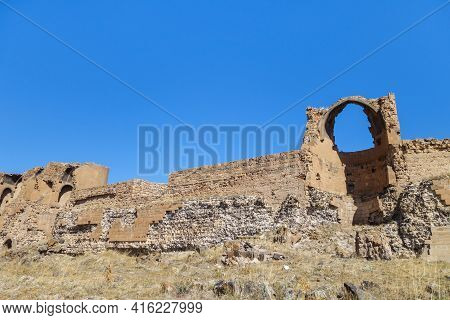 Remains Of Powerful Walls Of Medieval Armenian City Ani, Near Kars, Turkey. Picture Taken Inside The