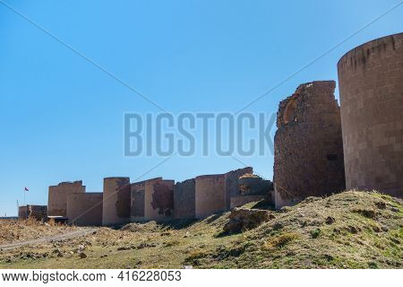 Panoramic View Onto Massive Fortification Wall & Towers Of Medieval Ghost Town Ani, Kars, Turkey. So