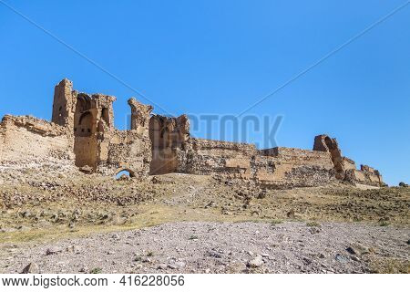 Remains Of Gates, Watchtower & Powerful Walls Of Medieval City Ani, Near Kars, Turkey. City Founded