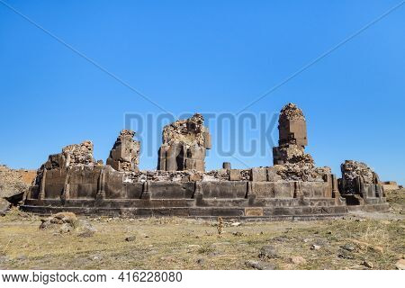 Side View Onto Remains Of King Gagik's Church Of St Gregory In Medieval City Ani, Near Kars, Turkey.