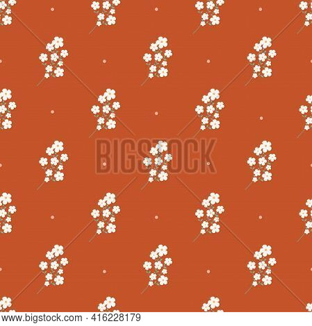 Seamless Pattern With White Flowers And Circles On An Orange Background. Summer, Minimalistic Patter