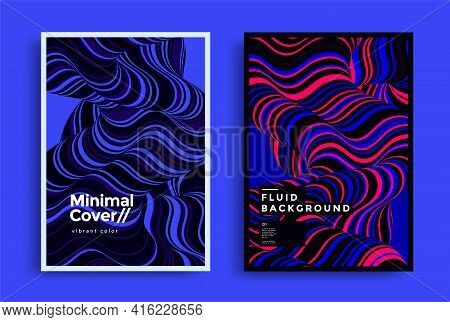 Red And Blue Optical Fluid Wave. Duotone Geometric