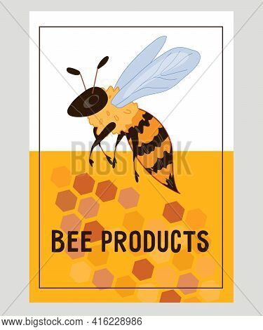 Natural Bee Products Banner Or Card Template With Honey Bee, Flat Vector Illustration. Honey Produci