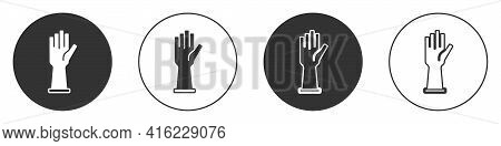 Black Medical Rubber Gloves Icon Isolated On White Background. Protective Rubber Gloves. Circle Butt