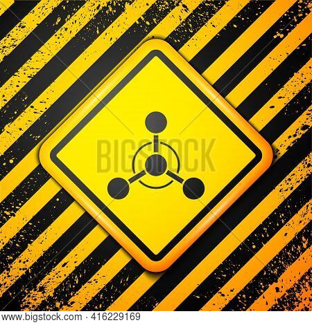Black Molecule Icon Isolated On Yellow Background. Structure Of Molecules In Chemistry, Science Teac