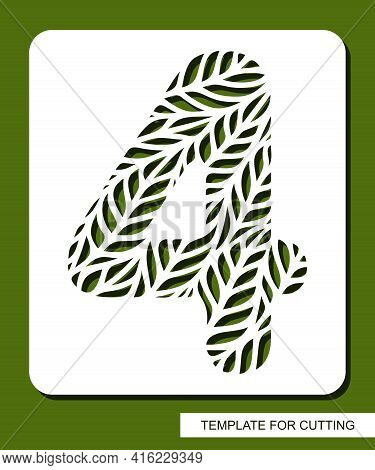 Stencil With The Number Four - 4. Carved Floral Pattern Of Leaves, Twigs. Eco Sign, Number, Oval Sym