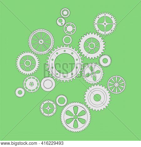 Vector Illustration Of A Gear. Flat Grey Round Gear Elements Of The Mechanism. Group Silver Isolated