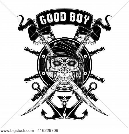 Vector Illustration Of A Pirate Skull In A Bandana. Crossed Sabres, Steering Wheel And Two Anchors.