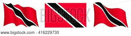 Flag Of Trinidad And Tobago In Static Position And In Motion, Fluttering In Wind In Exact Colors And