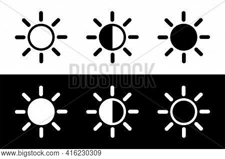 Bright Vector Icon. Contrast Icon. Screen Contrast Level