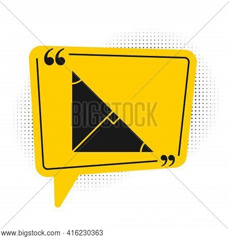 Black Angle Bisector Of A Triangle Icon Isolated On White Background. Yellow Speech Bubble Symbol. V
