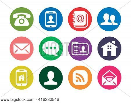 Round Icon Pack Isolated On White Background. Phone Icon, Mail Icon, Chat Icon, Home Icon. Collectio