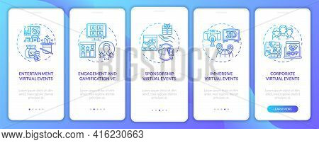Distant Events Types Onboarding Mobile App Page Screen With Concepts. Immersion, Corporate Session W