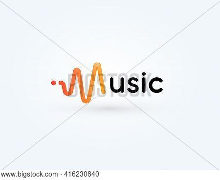 Music Icon, Radio Wave Logotype, Soundwave Symbol. Sound Impulse Logo Design For Voice And Audio Rec