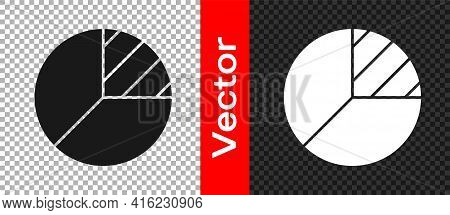 Black Pie Chart Infographic Icon Isolated On Transparent Background. Diagram Chart Sign. Vector