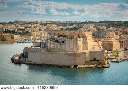 Battlement walls of the Saint Angelo Fort in Birgu, Malta