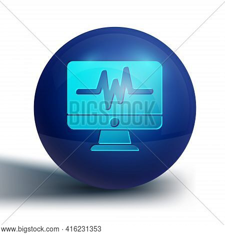 Blue Computer Monitor With Cardiogram Icon Isolated On White Background. Monitoring Icon. Ecg Monito