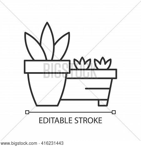 Flower Pots And Flower Beds Linear Icon. Place To Grow Plants Inside House. Gardening Equipment. Thi
