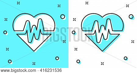 Black Line Heart Rate Icon Isolated On Green And White Background. Heartbeat Sign. Heart Pulse Icon.