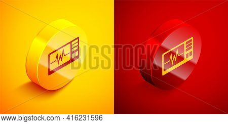 Isometric Computer Monitor With Cardiogram Icon Isolated On Orange And Red Background. Monitoring Ic