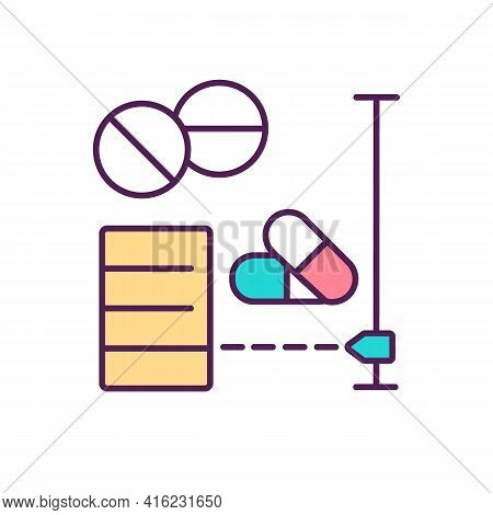 Measuring And Dispensing Drugs Rgb Color Icon. Medicine Manufacturing. Pharmaceutical Calculations.