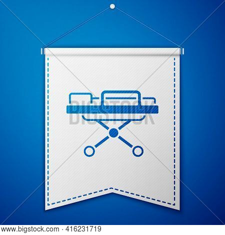 Blue Stretcher Icon Isolated On Blue Background. Patient Hospital Medical Stretcher. White Pennant T
