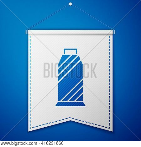 Blue Sewing Thread On Spool Icon Isolated On Blue Background. Yarn Spool. Thread Bobbin. White Penna