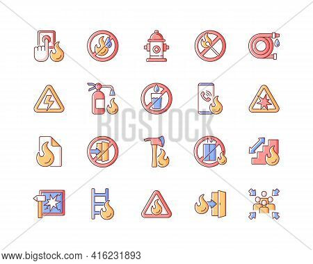 Fire Safety Rgb Color Icons Set. Alarm For Emergency. Do Not Use Drinking Water. Pulaski Axe. Ladder