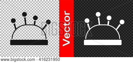 Black Needle Bed And Needles Icon Isolated On Transparent Background. Handmade And Sewing Theme. Vec