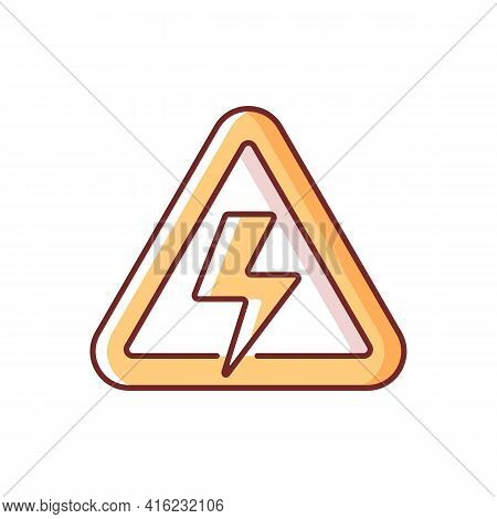 High Voltage Rgb Color Icon. Precaution For Power Outage. Danger Label For Electricity Supply. Indus