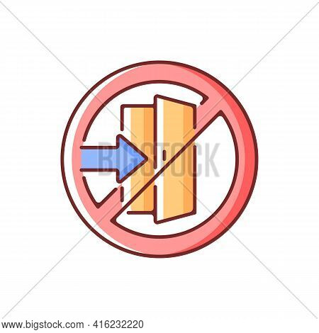 Do Not Enter Rgb Color Icon. Forbidden Way, Restricted Path Through Door. Not Go To Doorway. Plan An