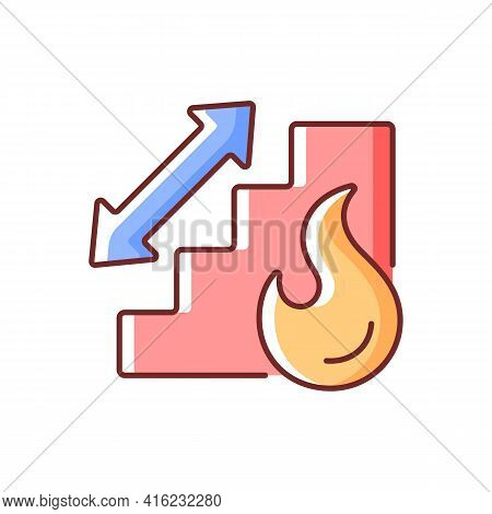 Stairway Rgb Color Icon. Directional Arrow To Evacuation Stairs. Building Stairs For Security. Fire