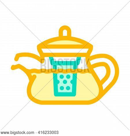 Teapot For Boiling Tea Color Icon Vector. Teapot For Boiling Tea Sign. Isolated Symbol Illustration