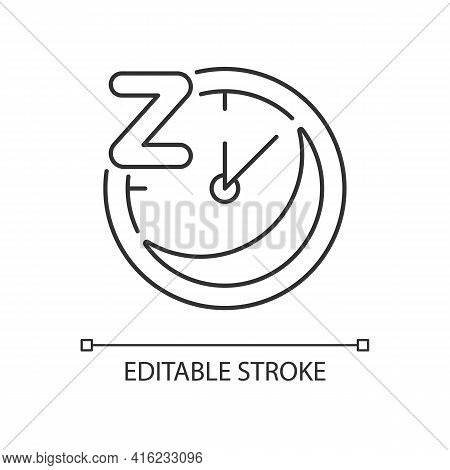 Regularity Linear Icon. Sleep Schedule. Nighttime On Clock. Bedtime On Watch Dial. Thin Line Customi