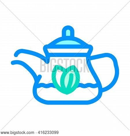 Green Tea In Teapot Color Icon Vector. Green Tea In Teapot Sign. Isolated Symbol Illustration