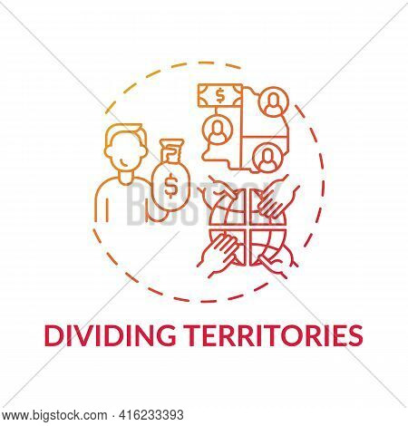 Dividing Territories Concept Icon. Anti-competitive Practice Idea Thin Line Illustration. Contractua