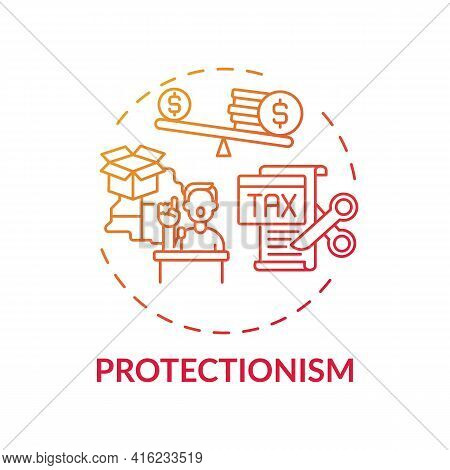 Protectionism Concept Icon. Economic Policy Idea Thin Line Illustration. Restricting International T