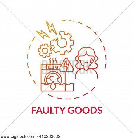 Faulty Goods Concept Icon. Consumer Rights Violation Claim Idea Thin Line Illustration. Customer Ser