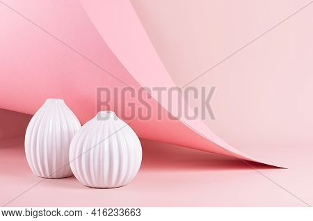 Delicate Spring Pink Interior With Ribbed White Ceramic Vases On Soft Light Pastel Background With H