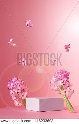 Tender Delicate Spring Mock Up With White Square Podium For Presentation Cosmetic, Produce, Fresh Fl