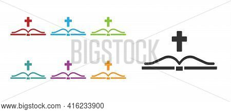 Black Holy Bible Book Icon Isolated On White Background. Set Icons Colorful. Vector
