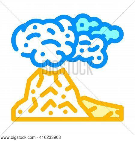 Peleus Type Eruption Color Icon Vector. Peleus Type Eruption Sign. Isolated Symbol Illustration