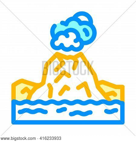 Island With Volcano Color Icon Vector. Island With Volcano Sign. Isolated Symbol Illustration