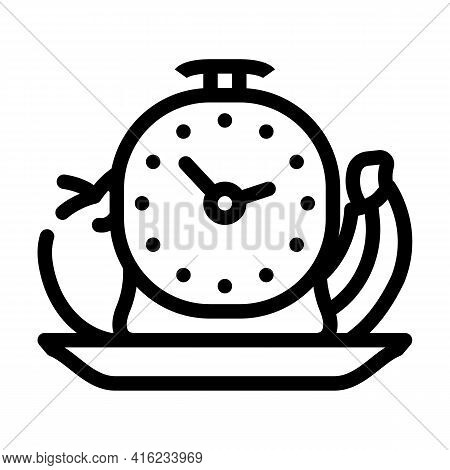 Food By Hour Line Icon Vector. Food By Hour Sign. Isolated Contour Symbol Black Illustration
