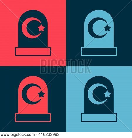 Pop Art Muslim Cemetery Icon Isolated On Color Background. Islamic Gravestone. Vector