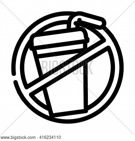 Refusal From Soda Line Icon Vector. Refusal From Soda Sign. Isolated Contour Symbol Black Illustrati