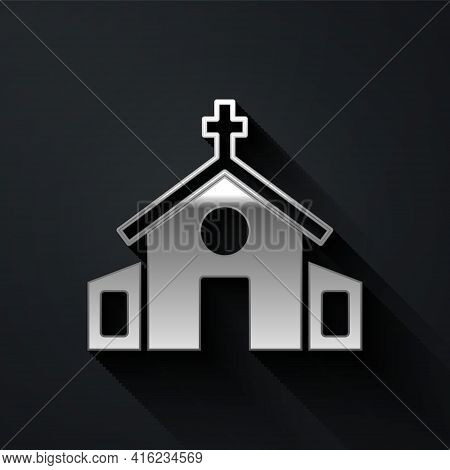 Silver Church Building Icon Isolated On Black Background. Christian Church. Religion Of Church. Long