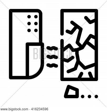 Glass Break Sensor Line Icon Vector. Glass Break Sensor Sign. Isolated Contour Symbol Black Illustra