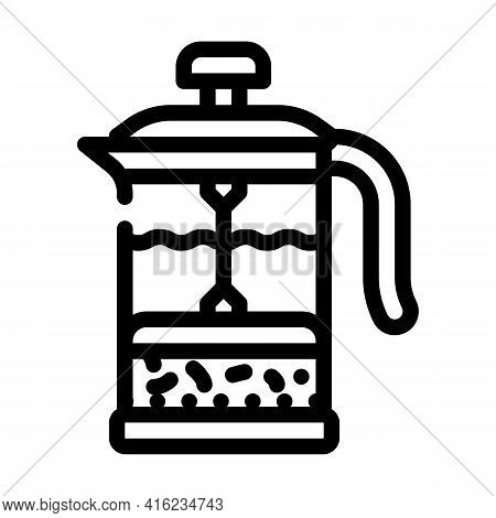 Teapot Press Line Icon Vector. Teapot Press Sign. Isolated Contour Symbol Black Illustration